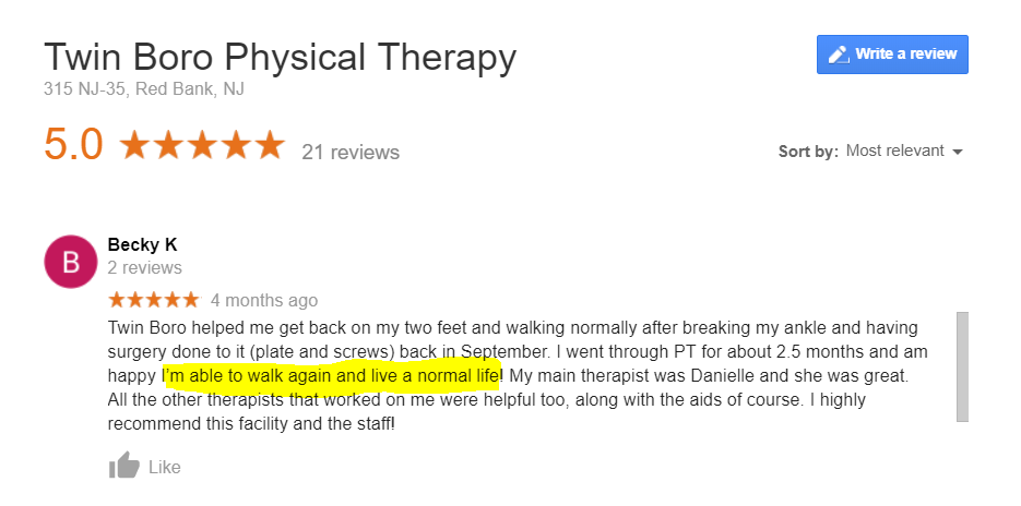 physical therapy reviews